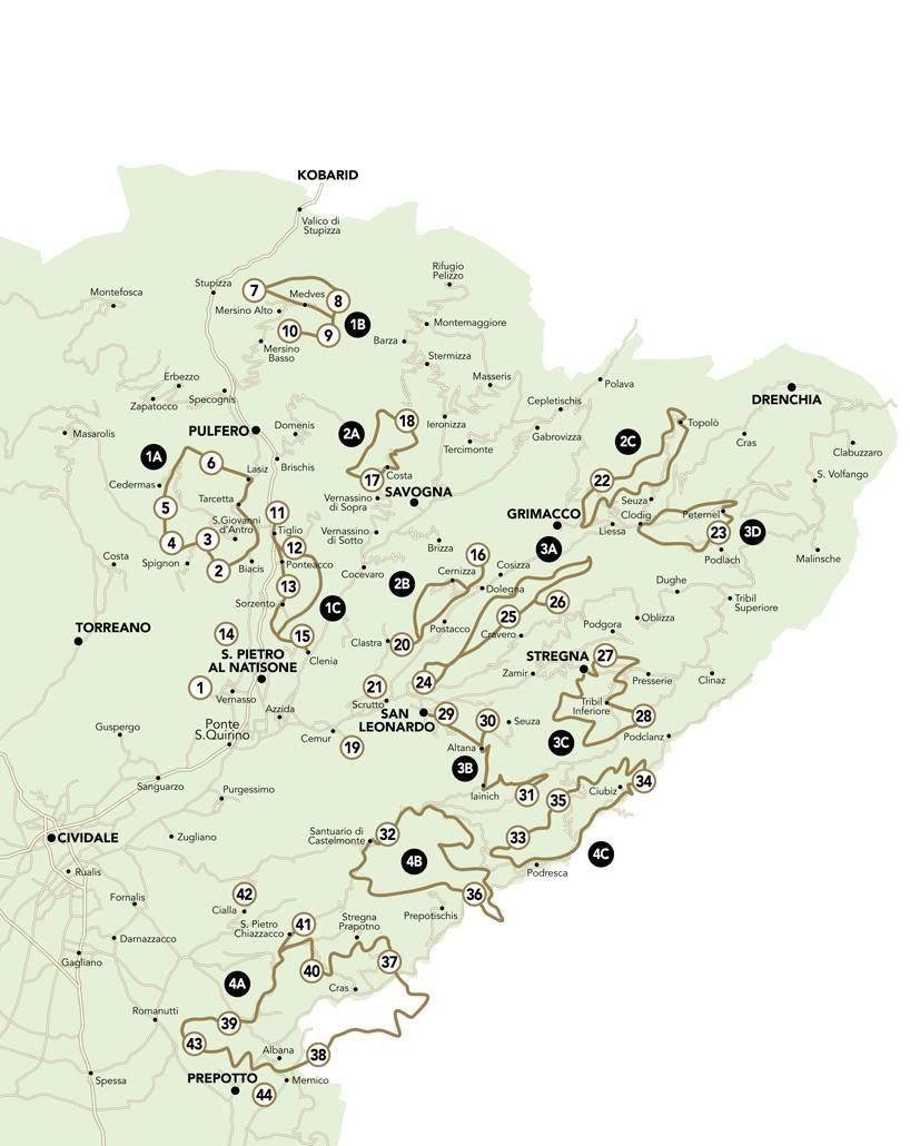 Cartina dei percorsi alla scoperta delle 44 Chiesette votive nelle Valli del Natisone